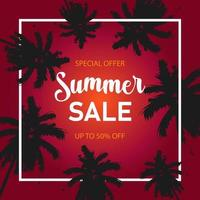 Summer sale vector banner template with tropical palm