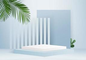 3d background products display podium scene with green leaf geometric platform background vector 3d render with podium stand to show cosmetic products Stage showcase on pedestal display blue studio