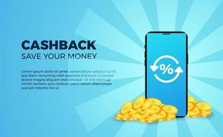 Cashback banner promotion money advertising with 3d golden coin dollar with phone with blue background vector