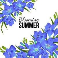 WHITE BANNER WITH BLUE FLOWERS AT THE CORNERS vector