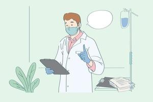 physician analysis and  consulting how to prevent disease doctor take examination case and advice to patient vector