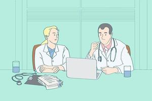 two physicians analysis and  consulting how to prevent disease doctor take examination case look at the laptop vector