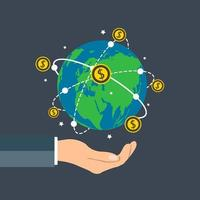 Businessman holding earth globe Dollar coin concept growth chart hand holding coin spin around the world vector