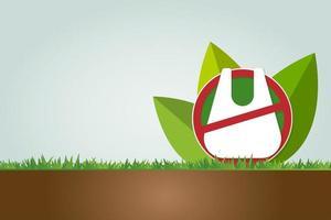Ecology and Environmental Save World Concept No plastic bag vector