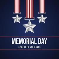 memorial day remember and honor poster with usa flag and medal illustration photo
