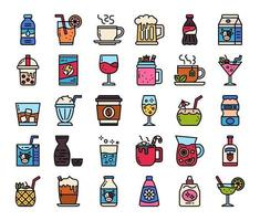Berverage Color Outline Vector Icons