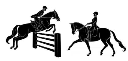 Horse Riding Woman Riding Dressage Horse in Cartoon Style vector