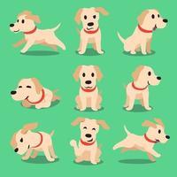 personaje de dibujos animados perro labrador poses vector