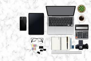 Realistic workspace elements workplace on desk top view Modern Technology working Place on marble texture desktop cup of coffee smartphone monitor writting item vector graphic on marble white