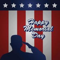 memorial day remember and honor poster with usa flag and army illustration vector