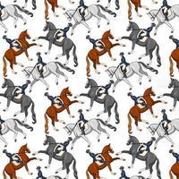 Horseback Riding Seamless Pattern Woman Riding a Horse vector