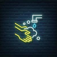 Hand Washing Neon Sign vector