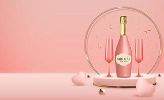 Realistic 3d pedestal with bottle and glasses of champagne background vector
