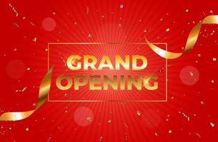 Grand Opening Card with Ribbon and Scissors Background vector