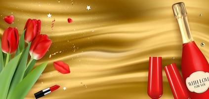 Realistic 3D champagne Red Bottle and Glasses and Tulips on golden silk background vector