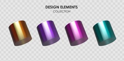 colección conjunto de render 3d realista degradado de color metálico formas geométricas objetos elementos para el diseño vector