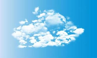 Realistic 3D white clouds on blue sky background vector