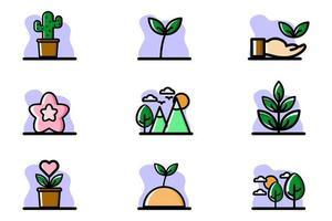 naturaleza, conceptual, icono, conjunto, vector, ilustración, diseño vector