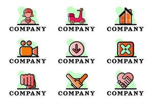 Set of Clean Company Conceptual Logo Design Vector Illustration