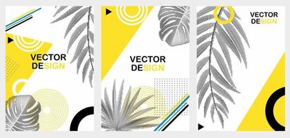 Abstract Geometric Trendy Background with Halftones Palm Leaves vector