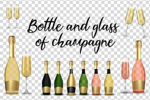 Big Collection Set of Realistic 3D champagne Golden and Pink and Green Bottle and glass vector