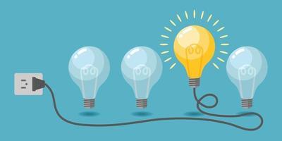 Light bulbs creative idea vector