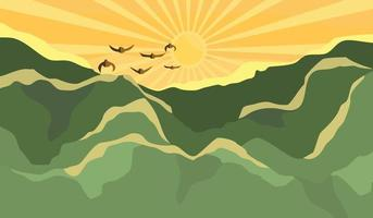 Mountain landscape with sunrise in morning vector
