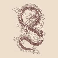 Traditional Asian Dragon Tattoo vector