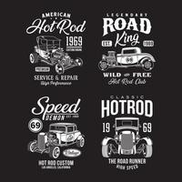 Vintage Hot Rod Graphic TShirts Collection vector