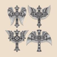 colección de cruz cristiana alada heráldica vector