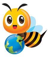 Cartoon cute bee carrying a clean globe vector