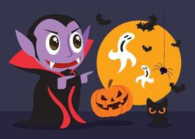 Little cute Dracula vampire celebrates Halloween party with cat and pumpkin friends vector