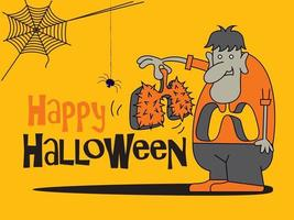 Cartoon monster holding a lung with thorns for Halloween Celebration vector