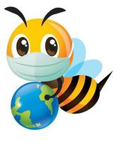 Cartoon cute bee with face mask carrying a globe for global awareness vector