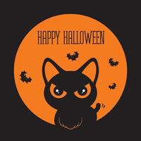 Halloween black cat with big eyes and bats flying around the cat vector
