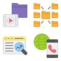 Pack of Data Technology Flat Icons vector
