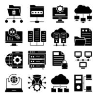 Pack of Data and Hardware Solid Icons vector