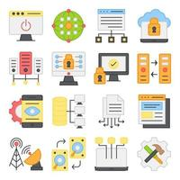Pack of Computer Accessories Flat Icons vector
