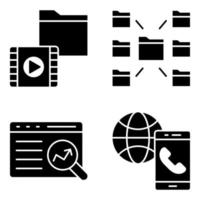 Pack of Data Technology Solid Icons vector