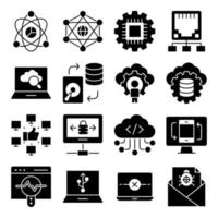 Pack of Computer and Hardware Solid Icons vector