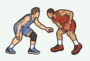 Basketball Team Men Players Cartoon Graphic vector