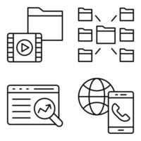 Pack of Data Technology Linear Icons vector