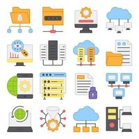 Pack of Data and Hardware Flat Icons vector