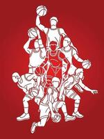 Silhouette Basketball Team Cartoon Graphic vector