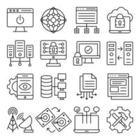 Pack of Computer Accessories Linear Icons vector