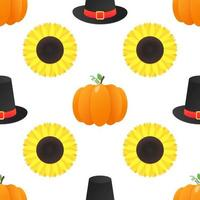 Seamless colorful thanksgiving pattern with pumpkins sunflowers and the hat vector