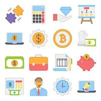 Pack of Financial Flat Icons vector