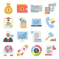 Pack of Business Growth Flat Icons vector