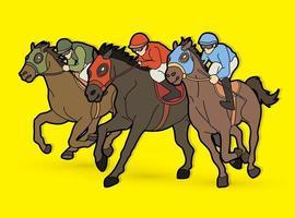 Group of Jockey Riding Horse Race Horse vector
