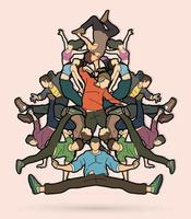 Group of People Dancing Together vector